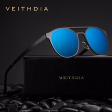 VEITHDIA Unisex Stainless Steel Sunglasses Polarized UV400 Mens Round Vintage Sun Glasses Male Eyewear Accessories For Men 3900
