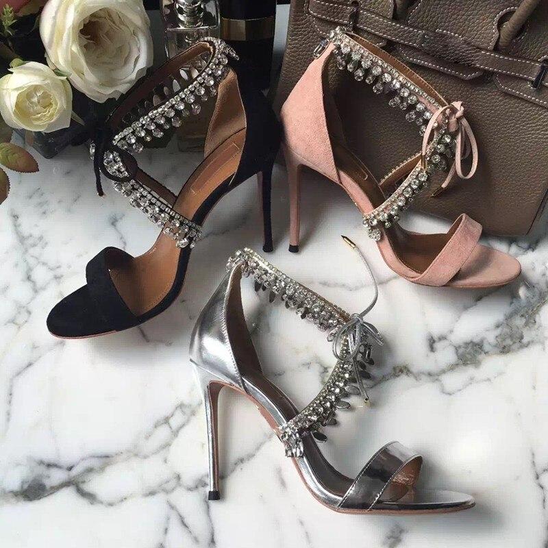 Scarpe Sexy Dimond 10cm Heel Bling Di Del Da Rhinestone Heel Donna Tacco A 8cm 2018 Cristallo Mano Fatti Alta Modo Heel 10cm Sandali CXwPqU6