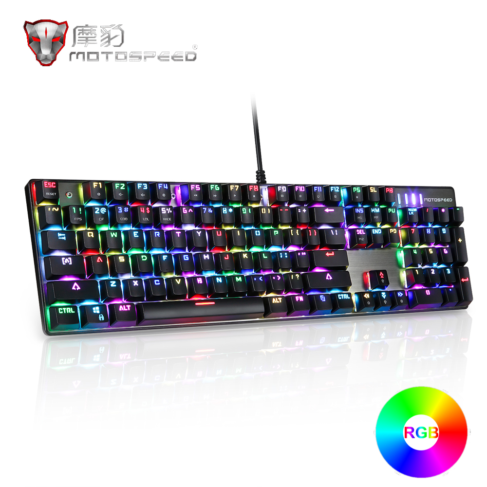 все цены на MOTOSPEED CK104 Metal 104 keys Mechanical Gaming Keyboard Blue Switches Wired USB Colorful LED Backlit For Computer Game Lover онлайн