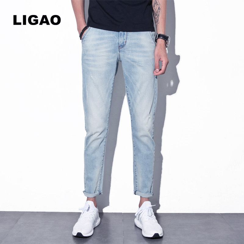 LIGAO Mens Jeans 2018 Casual Distressed Breathable Elastic Pencil Pant Trousers Scratched Ripped Hole Men Jeans Light blue