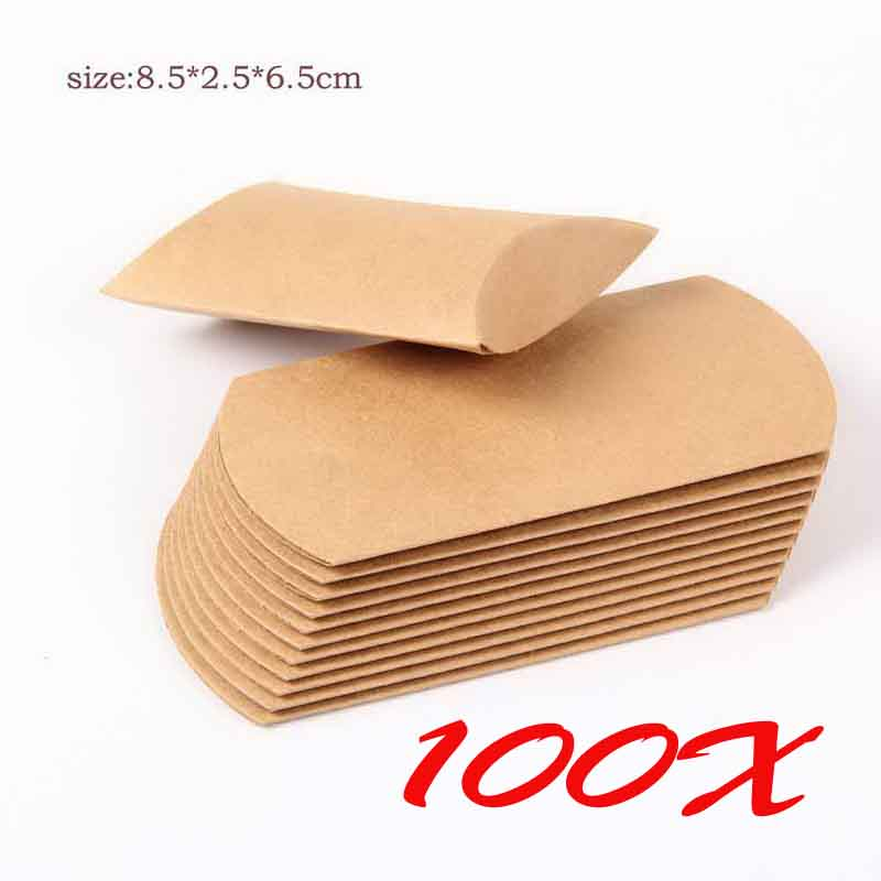 Kraft Paper Pillow Box Gift Candy Boxes Wedding Party Favor Boxes Paper Kraft Pillow Boxes 100pcs