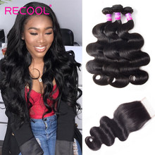 Recool Hair Peruvian Hair Bundles With Closure Human Hair Weave Body Wave Bundles With Closure Virgin Hair Bundles With Closure(China)