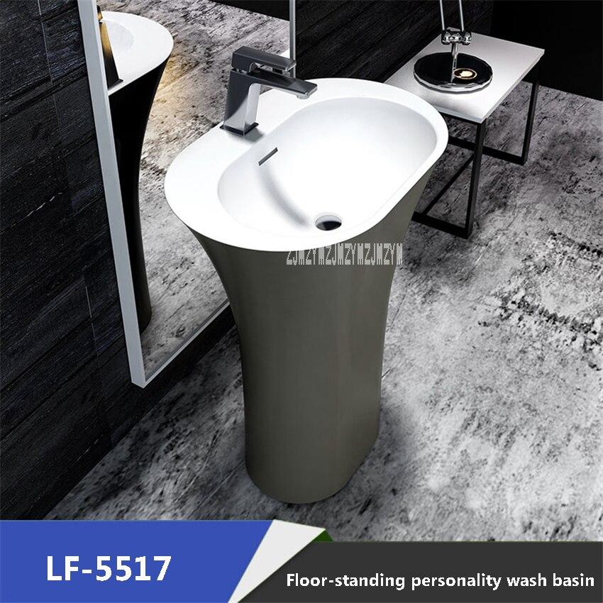 LF 5517 Artificial Stone Column Wash Basin Modern Simplicity Freestanding Washbasin Home Balcony Bathroom Vertical Wash Basin