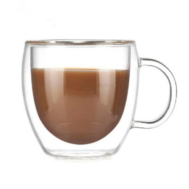 Transparent Double Wall Coffee Mugs with Good Handle