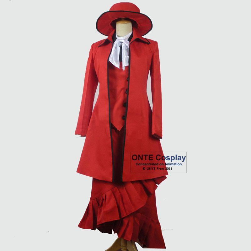 Cartoon Black Butler Cosplay Costumes Madam Red Fancy Party Outfits + Coat +Shirts+Hat for Halloween Christmas Gift