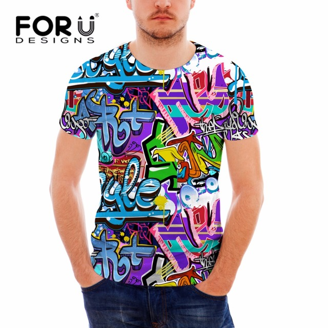 FORUDESIGNS Multicolor Summer Short Sleeve Graffiti Tshirt for Men Cool  Fitness Casual Male T-shirt