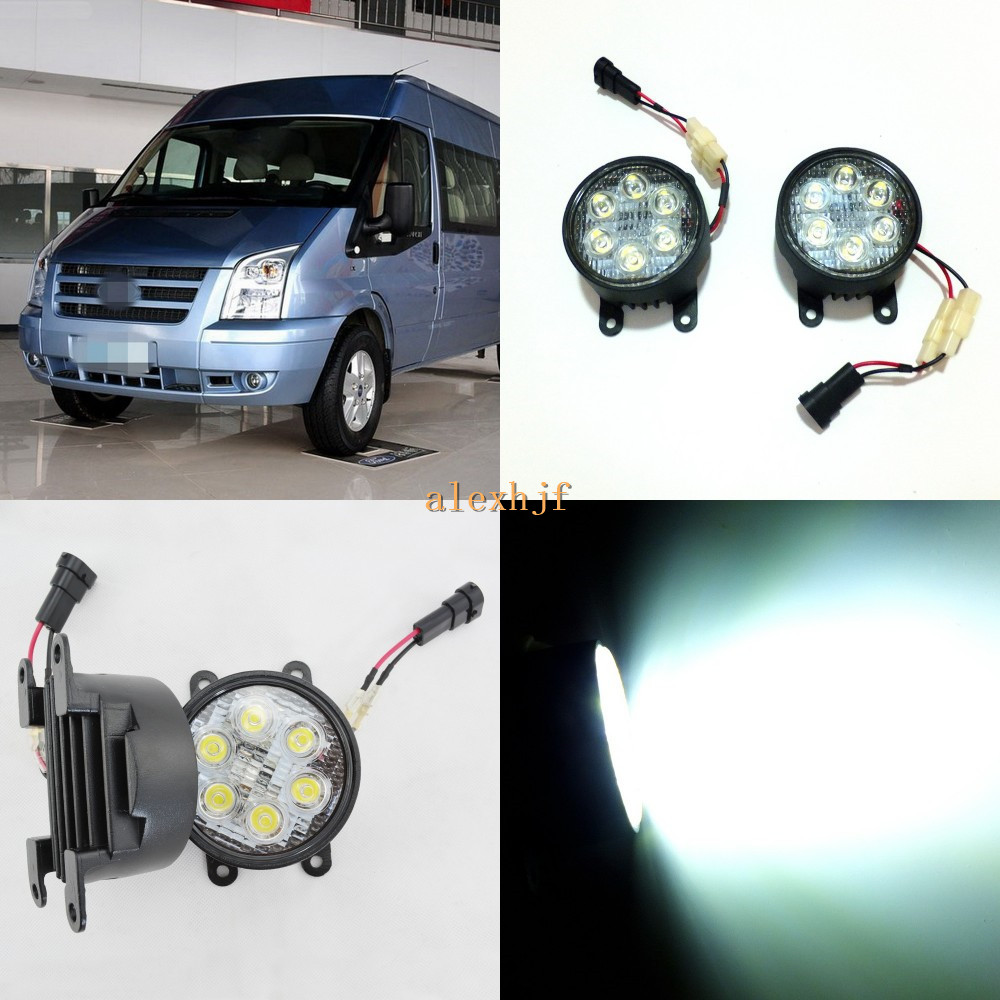July King 18W 6LEDs H11 LED Fog Lamp Assembly Case for Ford Transit MK7 2006~2015, 6500K 1260LM LED Daytime Running Lights