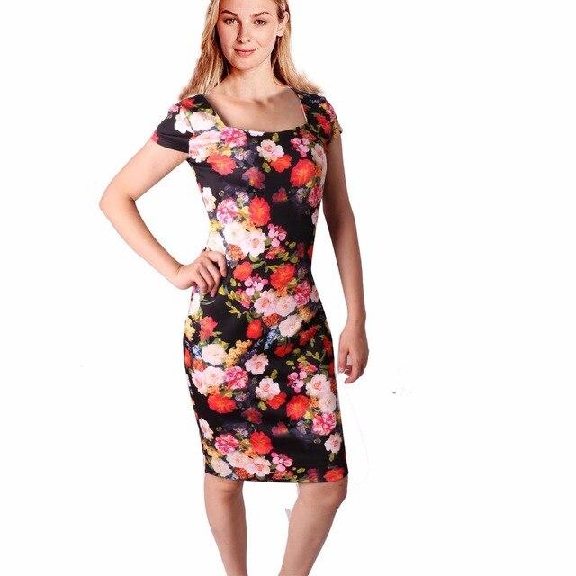 Summer Casual Work Dresses Women Dress Plus Size 28 Color Floral ...