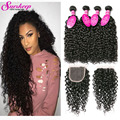 Brazilian Water Wave Virgin Hair With Closure 7A Unprocessed Virgin Brazilian Hair With Closure Wet And Wavy Hair With Closure