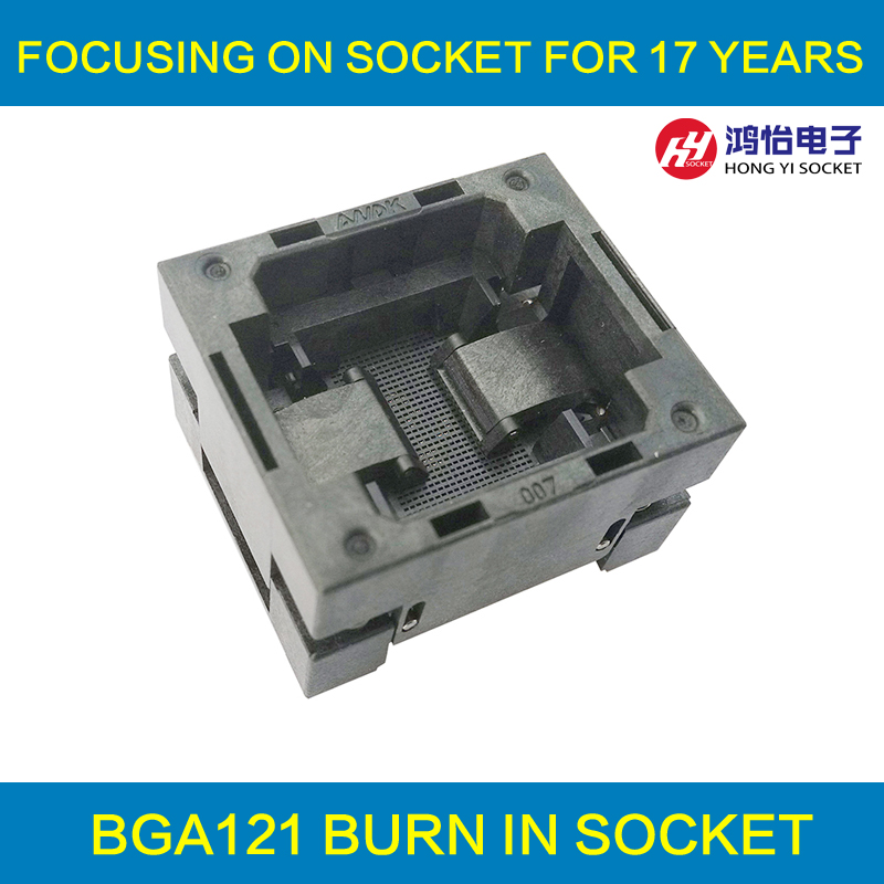 BGA121 OPEN TOP Burn In Socket Pitch 0 65mm IC Size 8 8mm BGA121 8 8