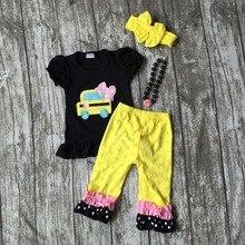 Bébé vêtements bébé filles de voiture applique capri ensemble pantalon ensemble tenues retour à l'école vêtements avec collier assorti et arc ensembles