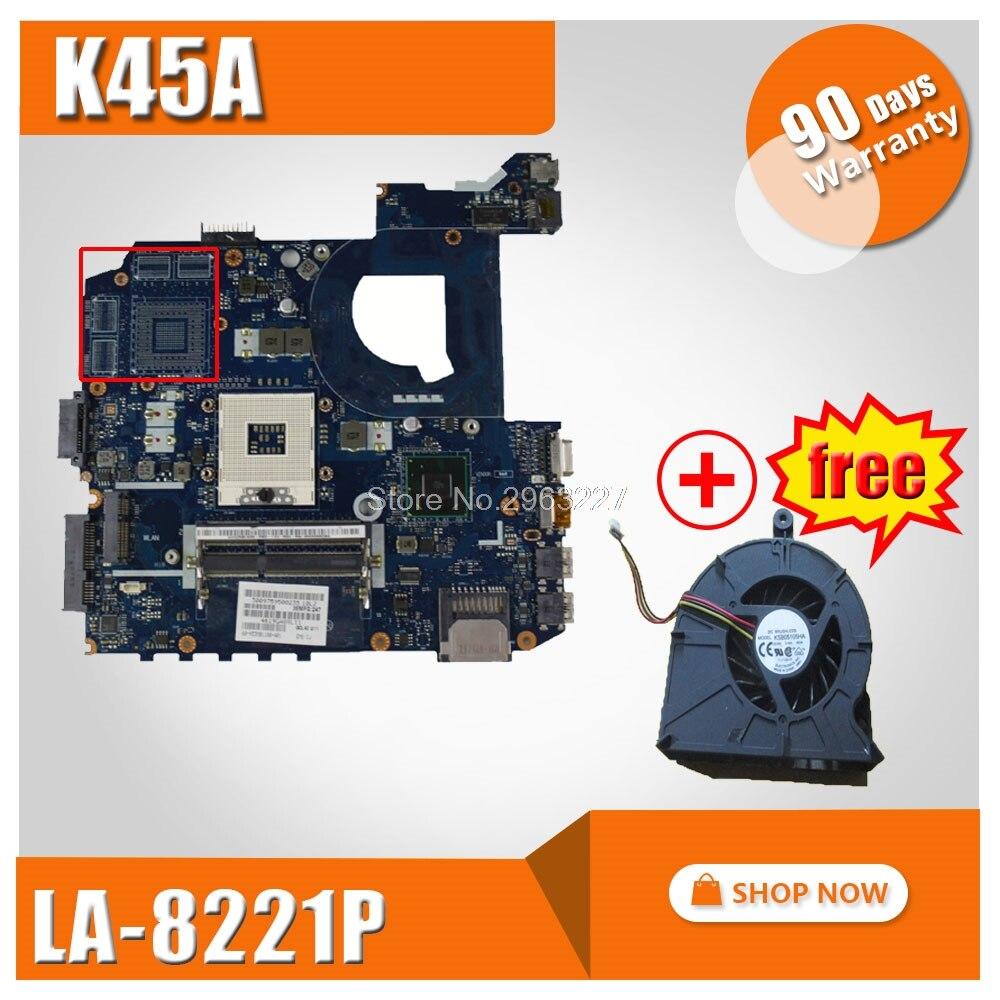 For ASUS K45A motherboard K45A K45VD A45V K45VM K45VS A85V LA-8221P integrated without graphics card Mainboard 100% tested for asus k45n k45 k45ei321vd k45a k45de k45vj k45vm k45vs keyboard