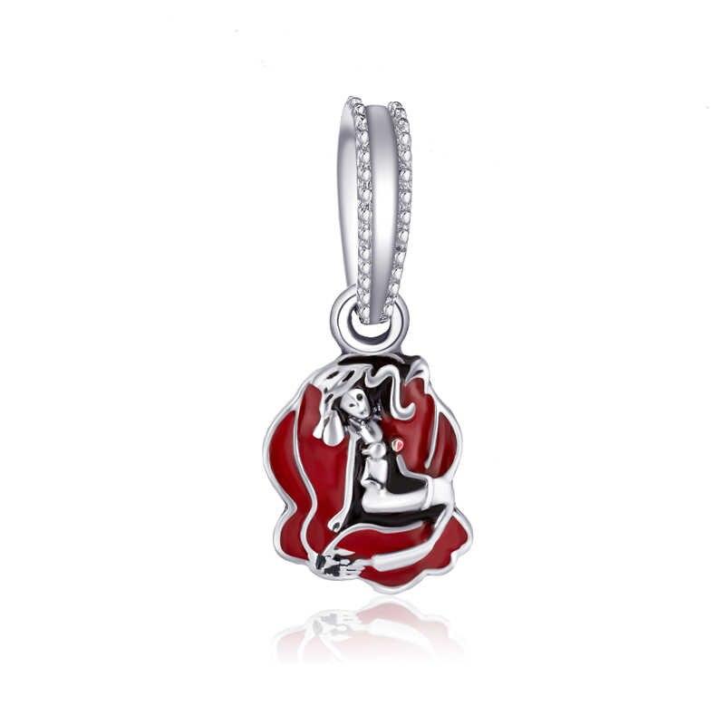 Estilo rojo de lujo flor ardilla Cruz corazón Mickey perlas simuladas ajuste Pandora Charms pulseras para las mujeres DIY joyería