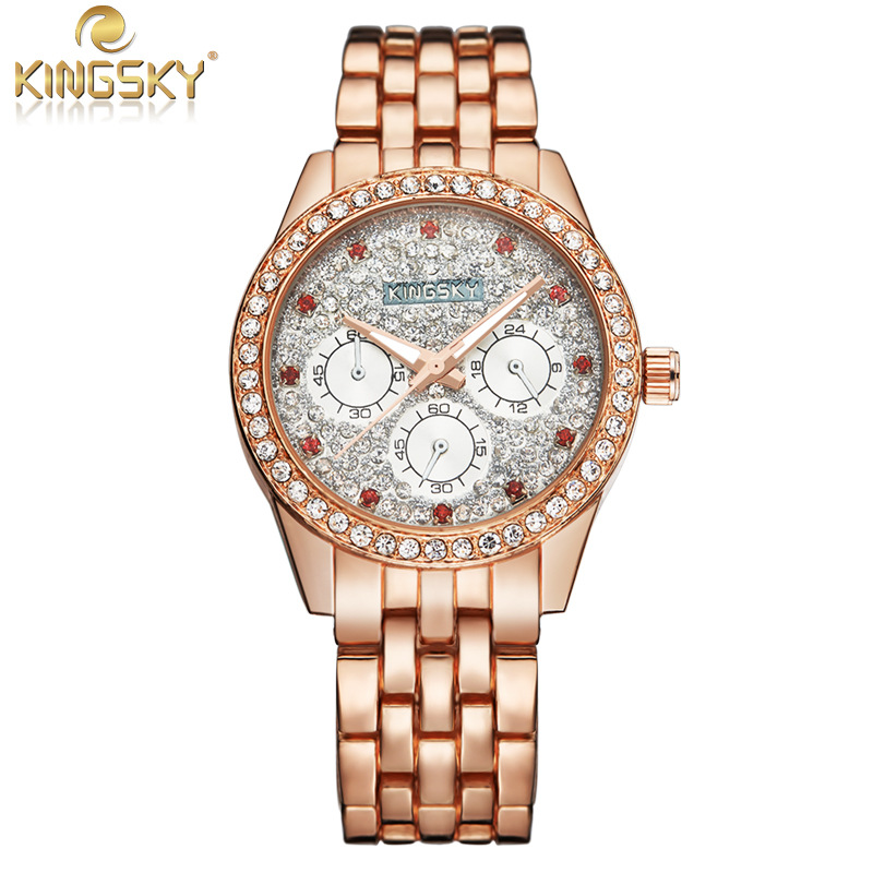 KingSky Women Luxury Bracelet Dress Watch Quartz Alloy With colorful Dial Ladies Watch,Women Rhinestone Wrist Watch Montre Femme 6 colors fashion rhinestone women jewelry watch vintage square mini dial bracelet fancy wrist watch for ladies gifts ll