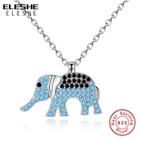 ELESHE Fashion Necklaces Silver 925 Chain Link Austrian Crystal Animal Elephant Pendant Necklace Women Sterling Silver