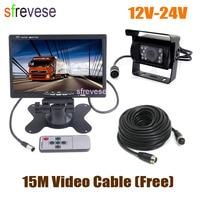 12V 24V 4Pin 18 LED CCD Parking Reversing Backup Camera + 7 LCD Monitor Car Rear View Kit 15m Cable for Bus Truck Motorhome