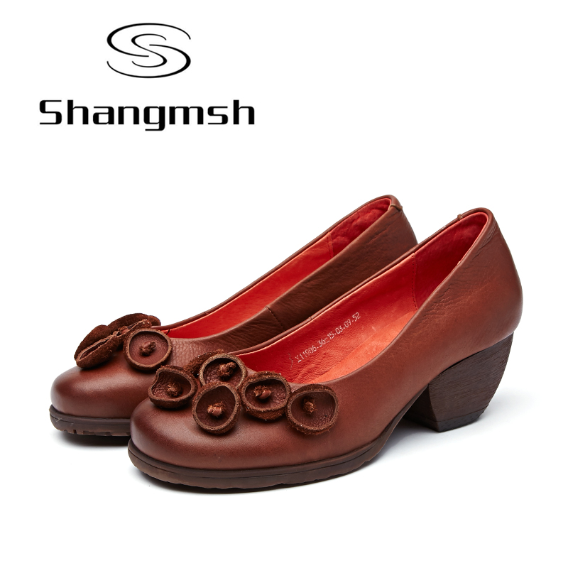Shangmsh Women's High Heels Pumps Sexy Bride Party Thick Heel Round Toe Genuine Leather High Heel Shoes for Office Lady Women new genuine leather superstar solid thick heel zipper gladiator women pumps pointed toe office lady nude runway casual shoes l88