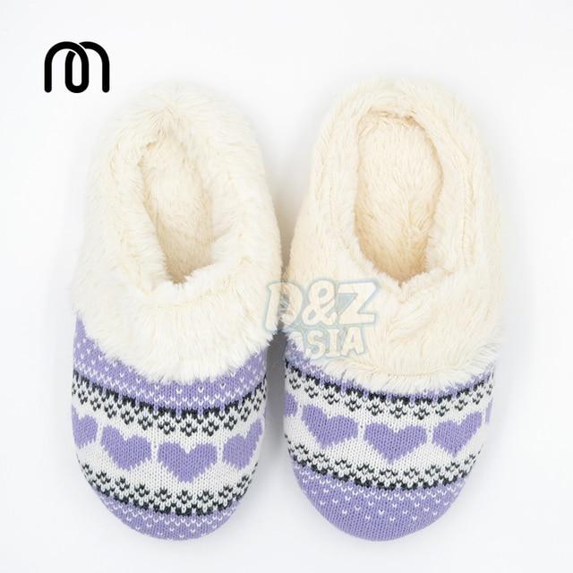 Invierno lindo amor patrones que hacen punto zapatillas de algodón ...