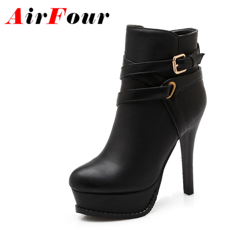 Airfour Shoes Woman Big Size 34-43 Zippers High Heels Winter Platform Shoes Sexy Ankle Boots for Women Fashion Boots Buckle big size 34 43 vintage thick high heels platform ankle boots female fashion shoes woman buckle charm lace up fall winter boots