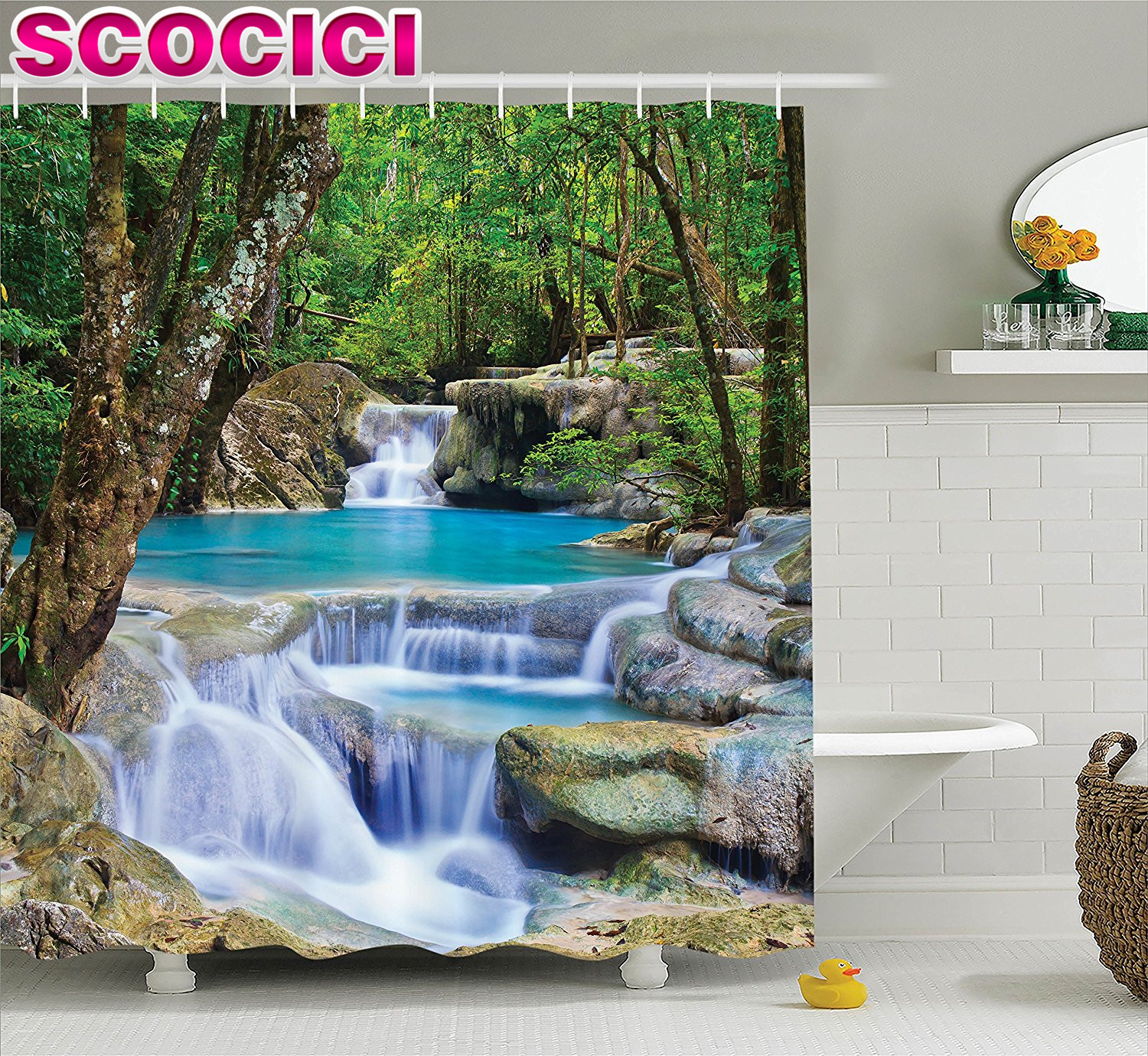 natural waterfall decor shower curtain set fairy image of asian waterfall by the rocks in forest secret paradise bathroom access
