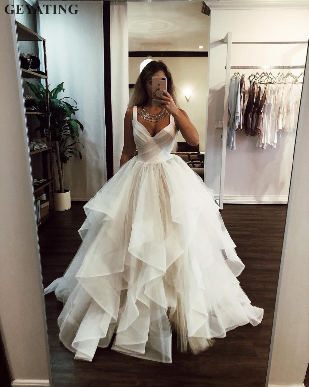 Wedding Ball Gowns With Straps: Ivory Ruffled Tulle Ball Gown Wedding Dress 2019 Elegant V