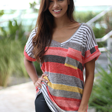 Women's 2019 Spring Pocket Striped Short Sleeve T-Shirt Top V-Neck Striped Female T-Shirt Multicolor Casual Large size S-5XL