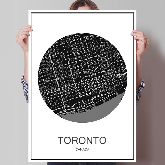 Canada toronto modern world map city poster abstract print picture canada toronto modern world map city poster abstract print picture oil painting canvas coated paper cafe gumiabroncs Choice Image