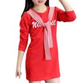 Korean Toddler Kids Clothing Spring Autumn Girl Long-style T-shirts Letter Scarf Collar Tops Tees Teenager Casual Costume Infant