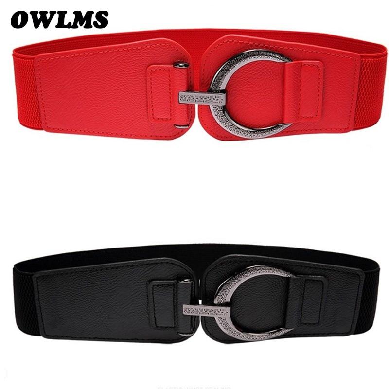 Schwarz bund breiten cummerbund dame Neue hohe qualität frauen gürtel Vintage große schnalle cummerbunds zubehör mode rot bandage