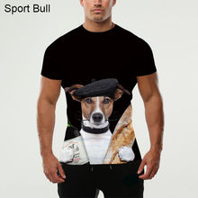 2016 Men's 3D Dog Funny T-shirt Street clothes latest digital printing novelty fashion casual short-sleeved T-shirt Lycra