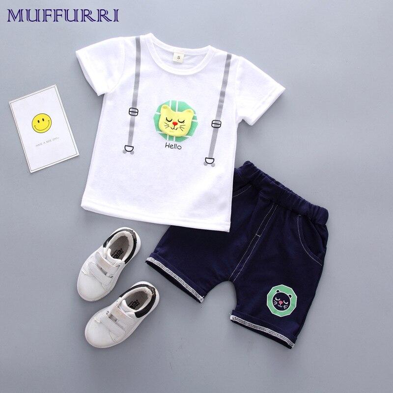 Muffurri Одежда для мальчиков из 2 вещей Летняя мода Костюмы для детей мальчиков милые дети короткий рукав Футболка верх + шорты костюм 3 цвета