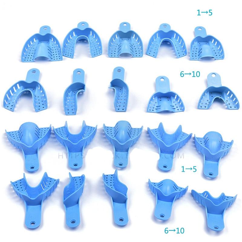 Équipement dentaire en plastique bon marché 10pcs / sac central autoclavable Alimentation dentaire ImpressionTrays Denture Tray Comme vu Produits TV