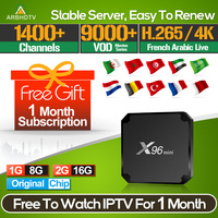 IPTV France Arabic X96 mini with 1 month IPTV Code French Turkey IPTV Subscription TV Box Android Full HD French Belgium IP TV