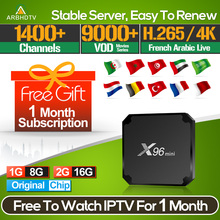 IPTV France Arabic X96 mini with 1 month Code French Turkey Subscription TV Box Android Full HD Belgium IP