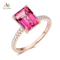 Peacock Star 14K Rose Gold Wedding Engagement Ring 2 8 Ct Pink Topaz 0 16 Ct