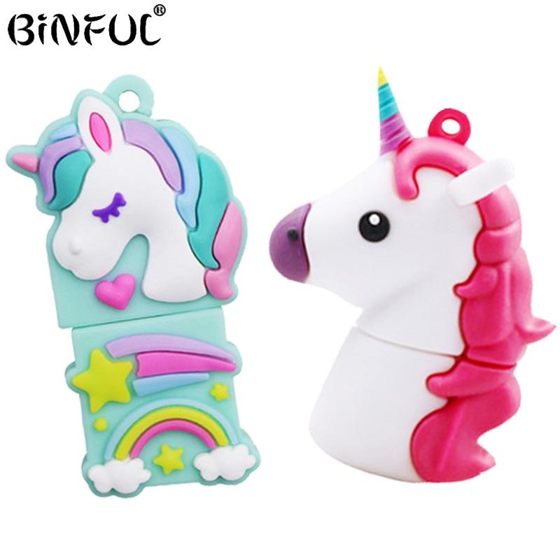 Cartoon Unicorn Pen Drive 64gb 32gb Usb Flash Drive Cute Horse Pendrive 4g 8g 16gb Memory Stick U Disk Gift Cle Usb Key