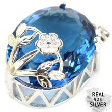 Real 925 Solid Sterling Silver 8.1g Big Gem Oval 22x18mm London Blue Topaz Engagement Pendant 31x18mm