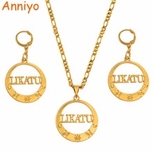 Anniyo LIKATU Island Big Pendant Necklaces Earrings Jewellery sets for Women Party Jewelry Gifts #131306