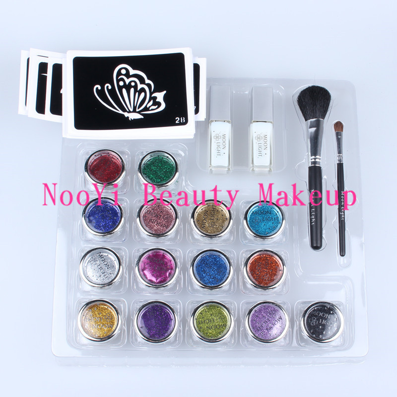 ФОТО Free shipping Professional temporary tattoo body art Glitter Tattoo kit with 15 color/brushes/glue/stencil