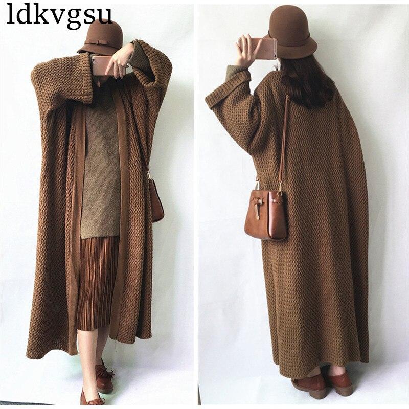 Kadın Giyim'ten Hırkalar'de 2019 Yeni Moda Batwing Kollu Uzun Hırka Trençkot Kadın Gevşek Büyük Boy Örgü Ilkbahar Sonbahar Kazak Elbise V37'da  Grup 3