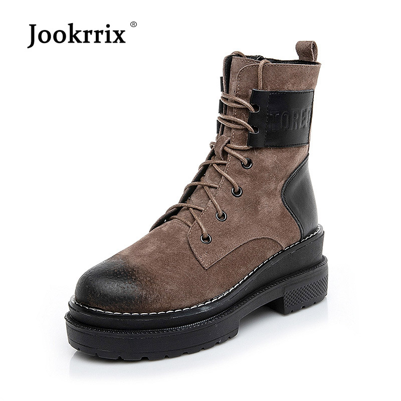 Jookrrix New Shoes Women Fashion Brand Shoes Martin Boots Lady Real Leather Cross tied Ankle chaussure