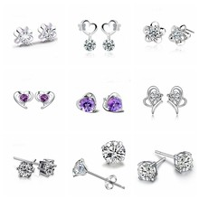 Fashion White Purple Zircon 925 Silver Stud Earrings Fine Heart Earing For Women Korea Female Sterling Silver Jewelry Oorbellen(China)