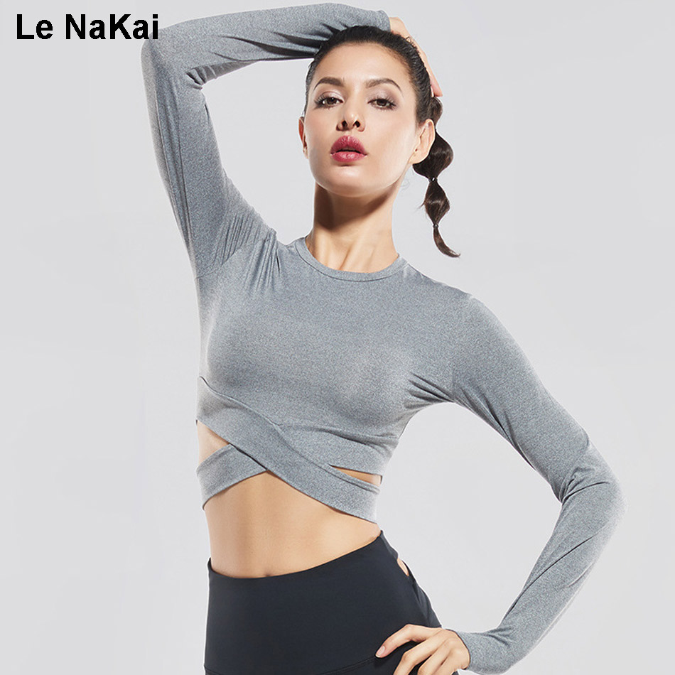 Cross waist long sleeves women sexy yoga top shirts Yoga shirts with sleeves
