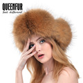 QUEENFUR 2016 Women Genuine Fox Fur Hat With Pom Poms Hat Winter Ear Flaps Bomber Russian Ushanka Outdoor Caps Women Fur Cap