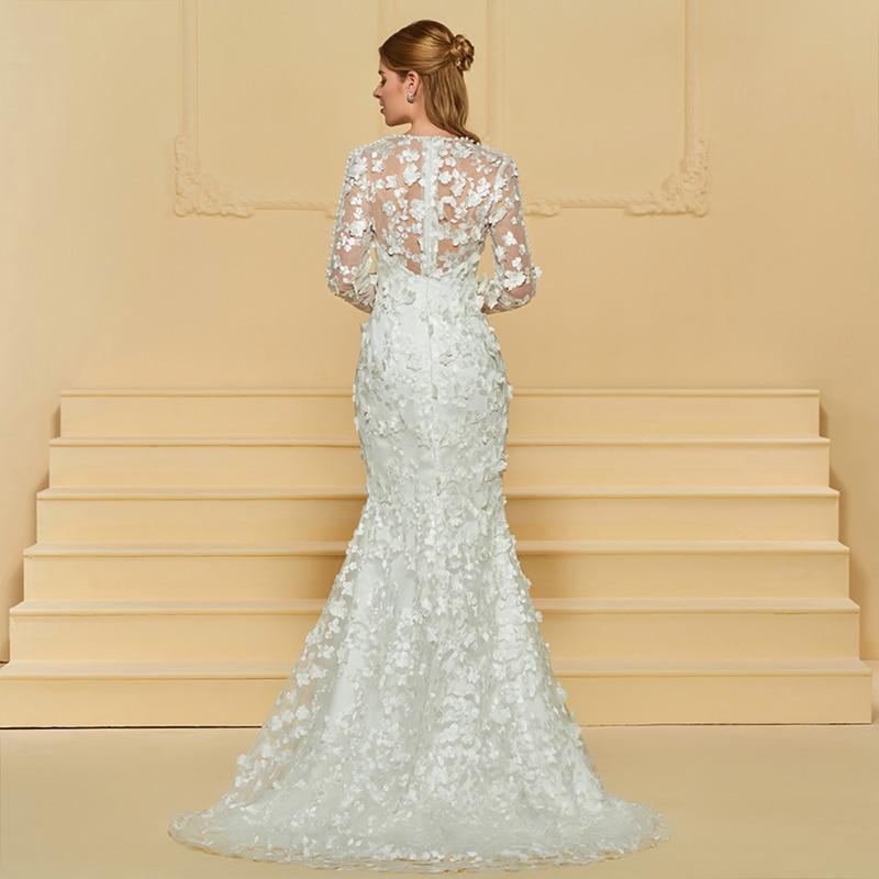 Dressv Ivory rochie de mireasa lunga V rochie lunga cu maneca lunga - Rochii de mireasa - Fotografie 3