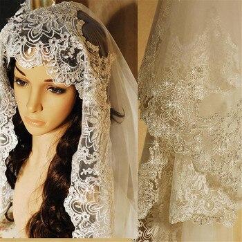 3 M de largo accesorios de boda velos de novia brillante secuencia Applique Cut Edge Catedral encantador Vail para novia blanco marfil