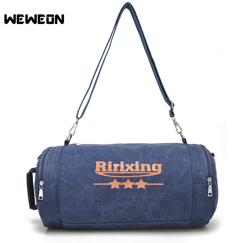 Canvas Sports Bag Single Shoulder Travel Gym Bag Fitness Handbag for Men and Women Cylinder Gym Bag Yoga Training Duffle Tote japanese pouch small hand carry green canvas heat preservation lunch box bag for men and women shopping mama bag