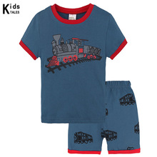 Summer children clothing set train pattern toddler clothing sets top+pant 2Pcs/set kids casual boys clothes pajamas outfit boys clothes new 2017 summer boy clothing sets flowers pattern toddler boys sets kids clothes children clothing set