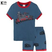 Summer children clothing set train pattern toddler sets top+pant 2Pcs/set kids casual boys clothes pajamas outfit