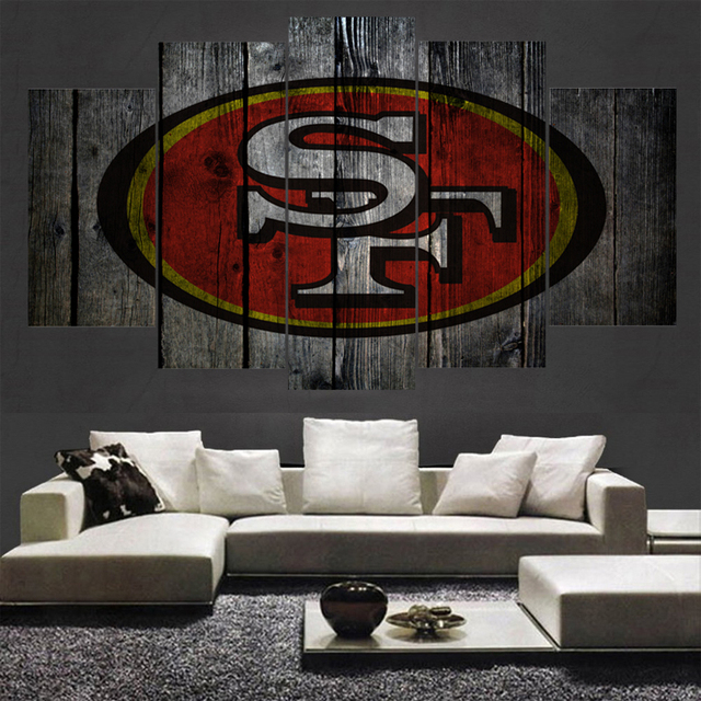 Modern Sport San Francisco 49ers Paintings Home Decor Picture 5 Panels Canvas Painting Calligraphy For Living